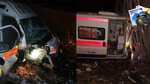 Ambulans Greydere Arkadan Çarptı
